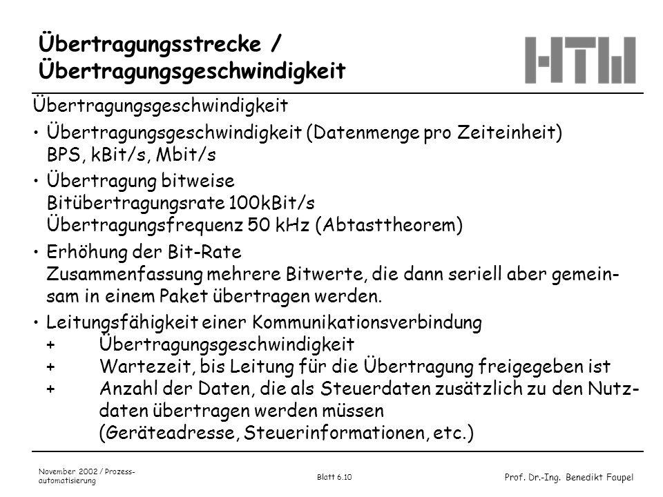 Prof. Dr.-Ing. Benedikt Faupel November 2002 / Prozess- automatisierung Blatt 6.10 Übertragungsstrecke / Übertragungsgeschwindigkeit Übertragungsgesch