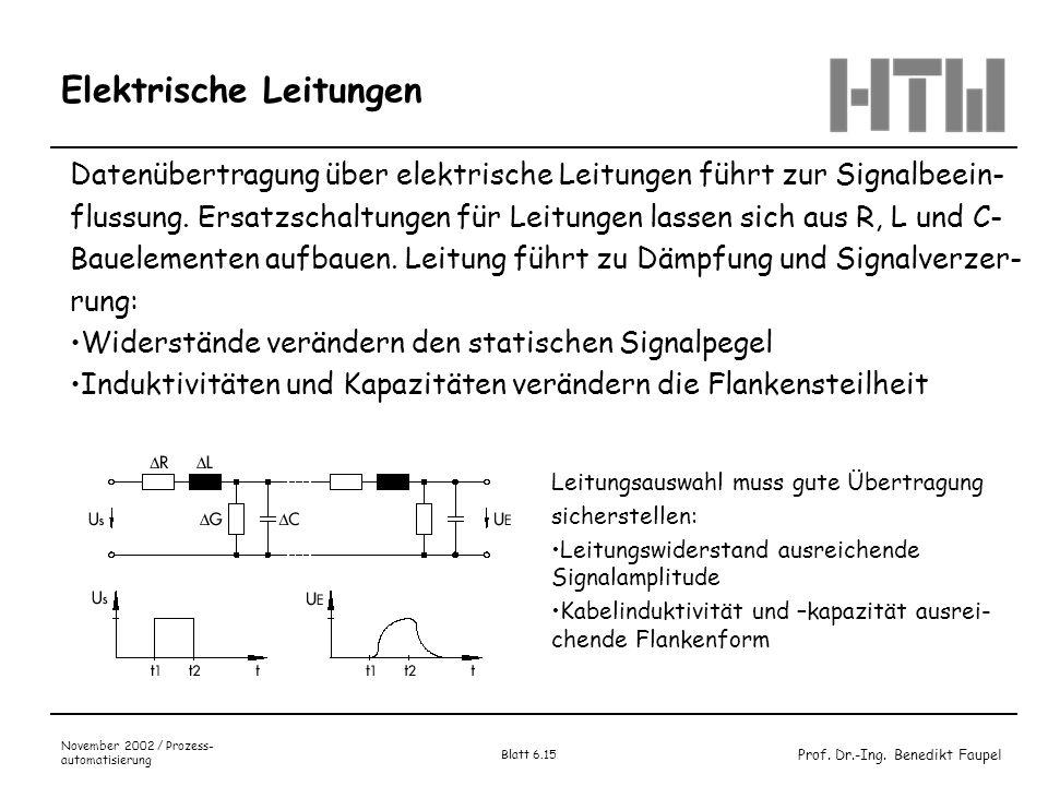 Prof. Dr.-Ing. Benedikt Faupel November 2002 / Prozess- automatisierung Blatt 6.15 Elektrische Leitungen Datenübertragung über elektrische Leitungen f