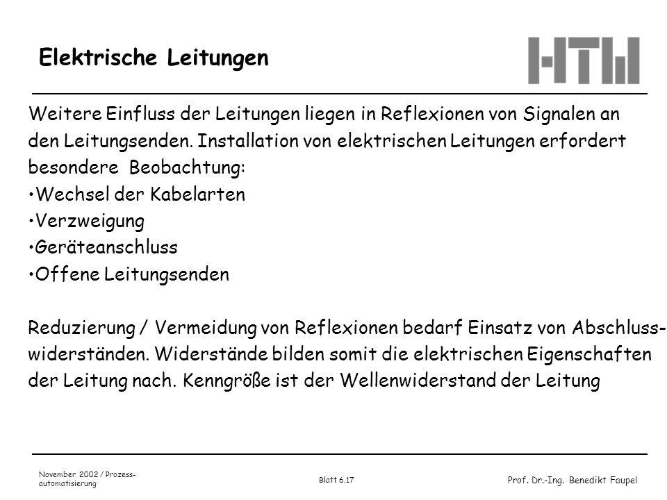 Prof. Dr.-Ing. Benedikt Faupel November 2002 / Prozess- automatisierung Blatt 6.17 Elektrische Leitungen Weitere Einfluss der Leitungen liegen in Refl