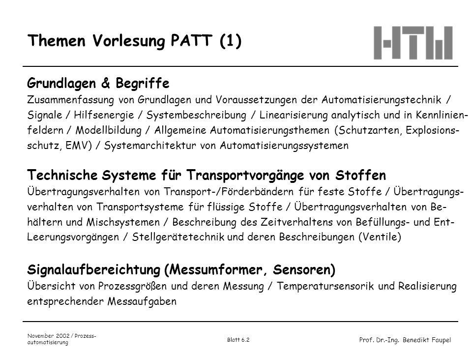 Prof. Dr.-Ing. Benedikt Faupel November 2002 / Prozess- automatisierung Blatt 6.2 Themen Vorlesung PATT (1) Grundlagen & Begriffe Zusammenfassung von