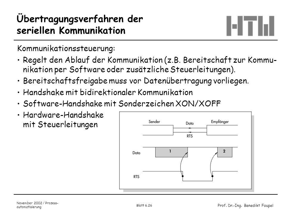 Prof. Dr.-Ing. Benedikt Faupel November 2002 / Prozess- automatisierung Blatt 6.26 Übertragungsverfahren der seriellen Kommunikation Kommunikationsste