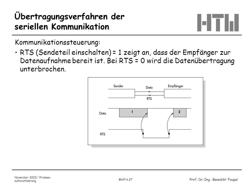 Prof. Dr.-Ing. Benedikt Faupel November 2002 / Prozess- automatisierung Blatt 6.27 Übertragungsverfahren der seriellen Kommunikation Kommunikationsste