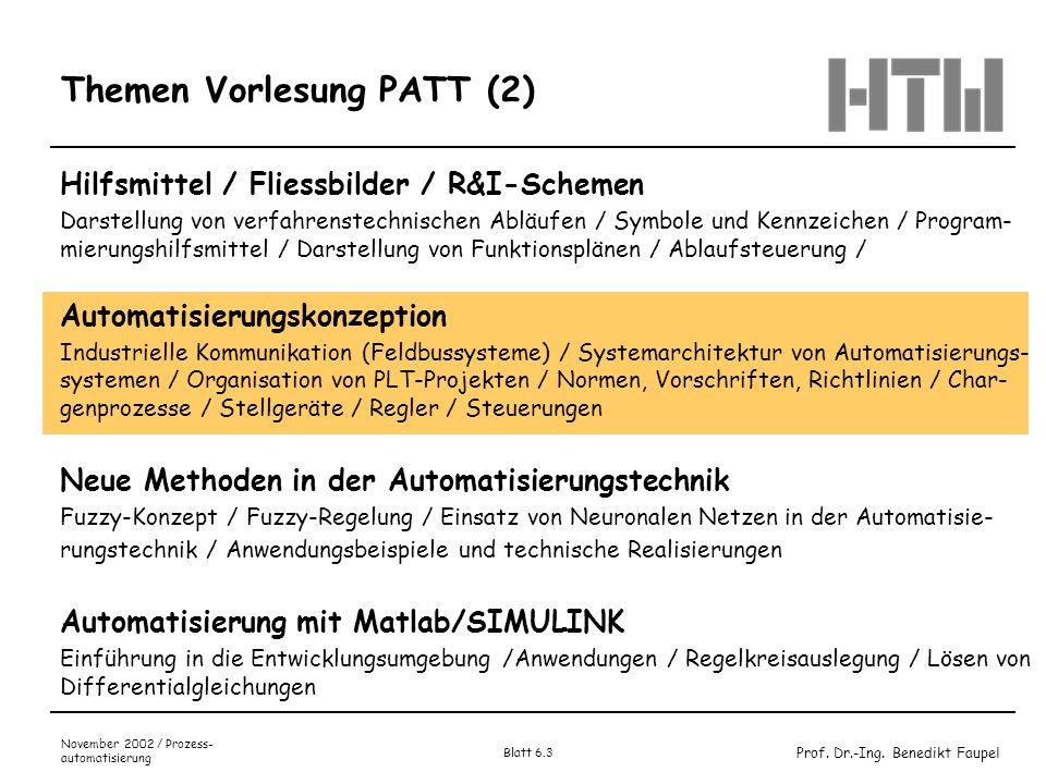 Prof. Dr.-Ing. Benedikt Faupel November 2002 / Prozess- automatisierung Blatt 6.3 Themen Vorlesung PATT (2) Hilfsmittel / Fliessbilder / R&I-Schemen D