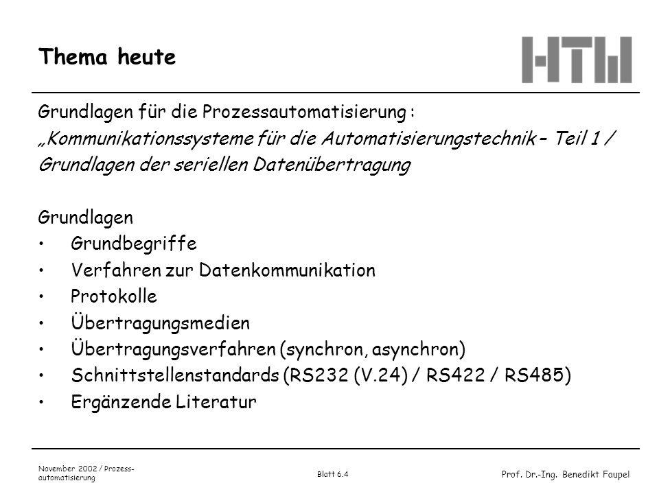 Prof. Dr.-Ing. Benedikt Faupel November 2002 / Prozess- automatisierung Blatt 6.4 Thema heute Grundlagen für die Prozessautomatisierung : Kommunikatio