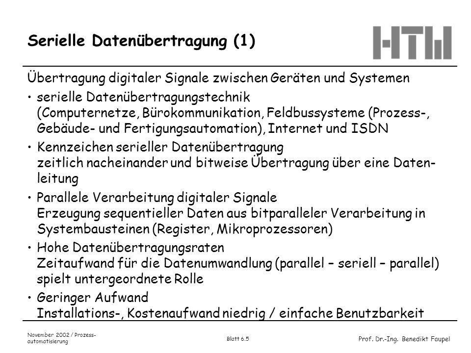 Prof. Dr.-Ing. Benedikt Faupel November 2002 / Prozess- automatisierung Blatt 6.5 Serielle Datenübertragung (1) Übertragung digitaler Signale zwischen