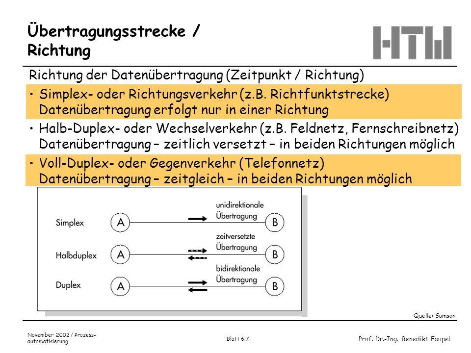 Prof. Dr.-Ing. Benedikt Faupel November 2002 / Prozess- automatisierung Blatt 6.7 Übertragungsstrecke / Richtung Richtung der Datenübertragung (Zeitpu