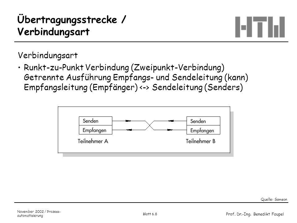 Prof. Dr.-Ing. Benedikt Faupel November 2002 / Prozess- automatisierung Blatt 6.8 Übertragungsstrecke / Verbindungsart Verbindungsart Runkt-zu-Punkt V
