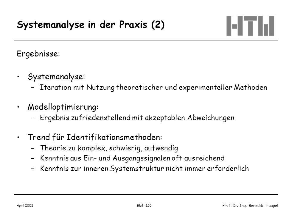 Prof. Dr.-Ing. Benedikt Faupel April 2002 Blatt 1.10 Systemanalyse in der Praxis (2) Ergebnisse: Systemanalyse: –Iteration mit Nutzung theoretischer u