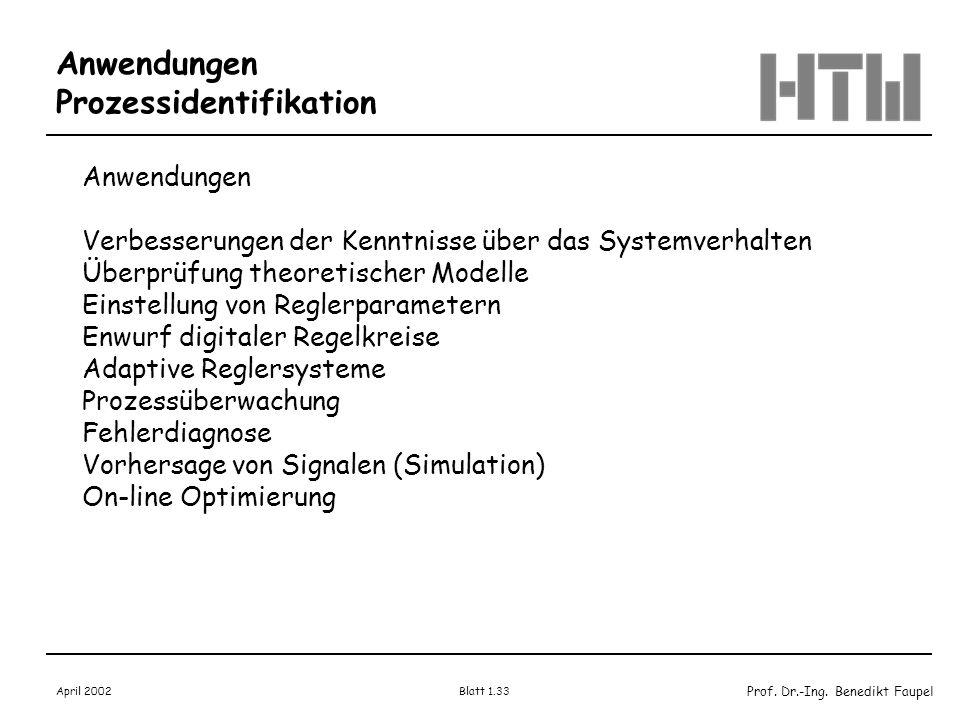 Prof. Dr.-Ing. Benedikt Faupel April 2002 Blatt 1.33 Anwendungen Prozessidentifikation Anwendungen Verbesserungen der Kenntnisse über das Systemverhal