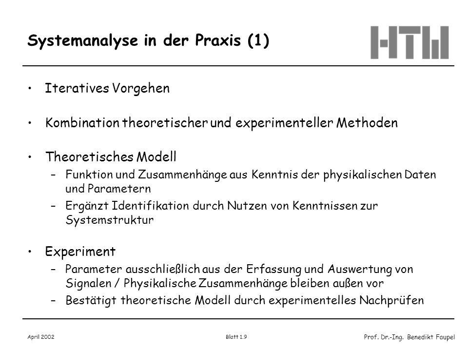 Prof. Dr.-Ing. Benedikt Faupel April 2002 Blatt 1.9 Systemanalyse in der Praxis (1) Iteratives Vorgehen Kombination theoretischer und experimenteller