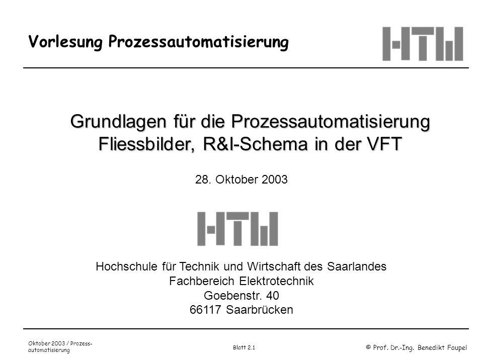 © Prof. Dr.-Ing. Benedikt Faupel Oktober 2003 / Prozess- automatisierung Blatt 2.1 Vorlesung Prozessautomatisierung Grundlagen für die Prozessautomati