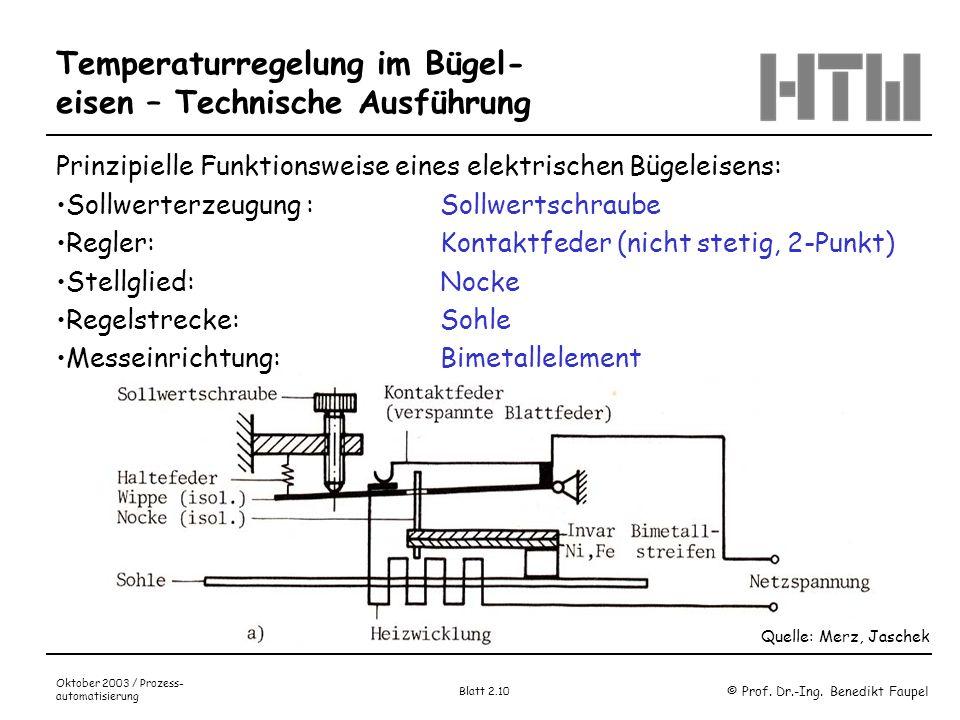 © Prof. Dr.-Ing. Benedikt Faupel Oktober 2003 / Prozess- automatisierung Blatt 2.10 Temperaturregelung im Bügel- eisen – Technische Ausführung Quelle:
