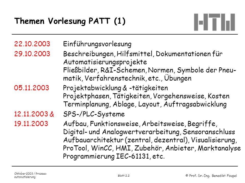 © Prof. Dr.-Ing. Benedikt Faupel Oktober 2003 / Prozess- automatisierung Blatt 2.2 Themen Vorlesung PATT (1) 22.10.2003Einführungsvorlesung 29.10.2003