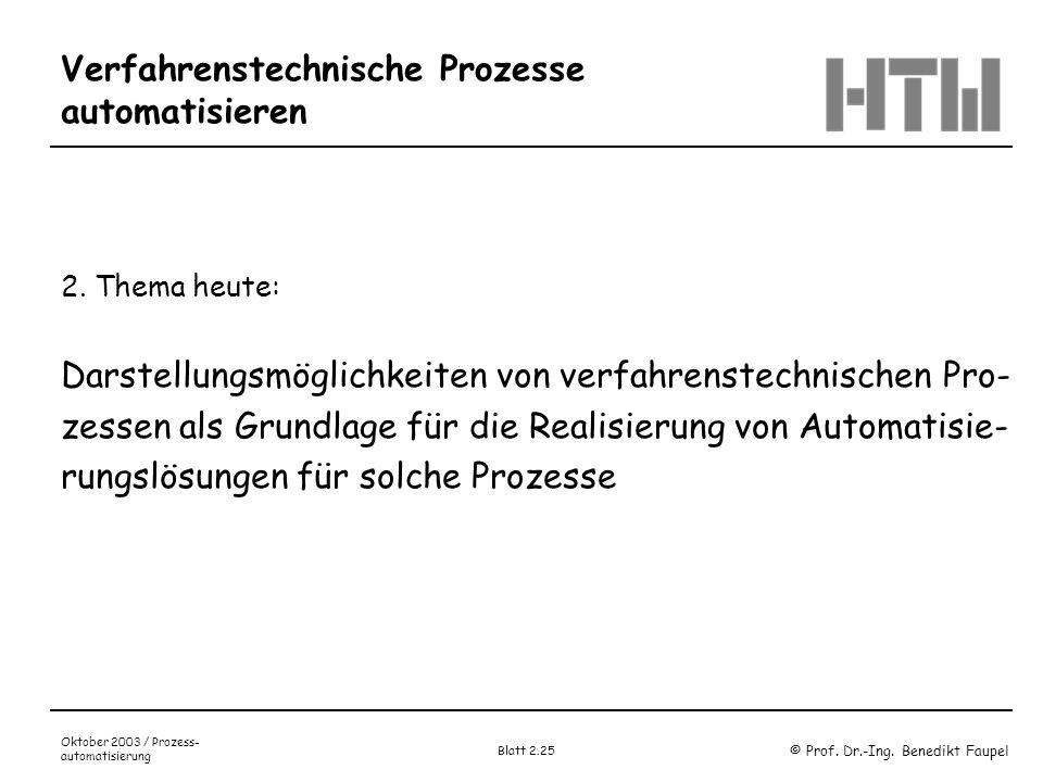 © Prof. Dr.-Ing. Benedikt Faupel Oktober 2003 / Prozess- automatisierung Blatt 2.25 Verfahrenstechnische Prozesse automatisieren 2. Thema heute: Darst