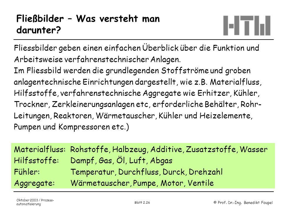 © Prof. Dr.-Ing. Benedikt Faupel Oktober 2003 / Prozess- automatisierung Blatt 2.26 Fließbilder – Was versteht man darunter? Fliessbilder geben einen