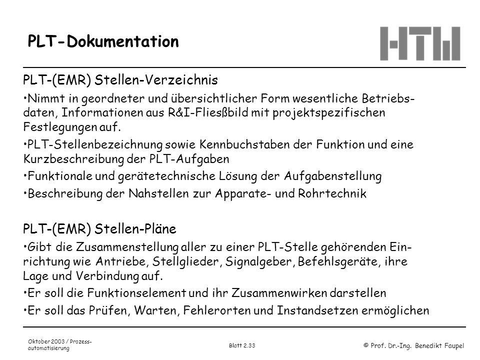 © Prof. Dr.-Ing. Benedikt Faupel Oktober 2003 / Prozess- automatisierung Blatt 2.33 PLT-Dokumentation PLT-(EMR) Stellen-Verzeichnis Nimmt in geordnete