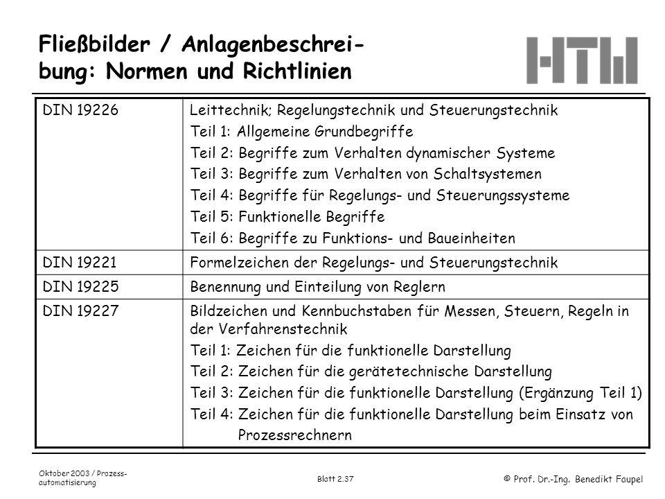 © Prof. Dr.-Ing. Benedikt Faupel Oktober 2003 / Prozess- automatisierung Blatt 2.37 Fließbilder / Anlagenbeschrei- bung: Normen und Richtlinien DIN 19