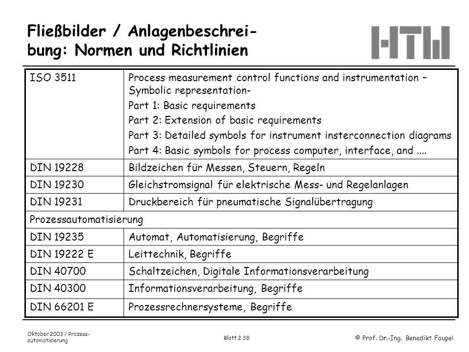 © Prof. Dr.-Ing. Benedikt Faupel Oktober 2003 / Prozess- automatisierung Blatt 2.38 Fließbilder / Anlagenbeschrei- bung: Normen und Richtlinien ISO 35