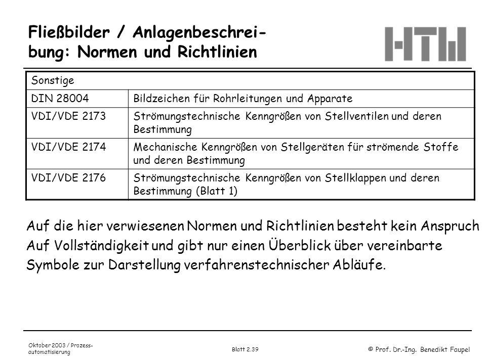 © Prof. Dr.-Ing. Benedikt Faupel Oktober 2003 / Prozess- automatisierung Blatt 2.39 Fließbilder / Anlagenbeschrei- bung: Normen und Richtlinien Sonsti