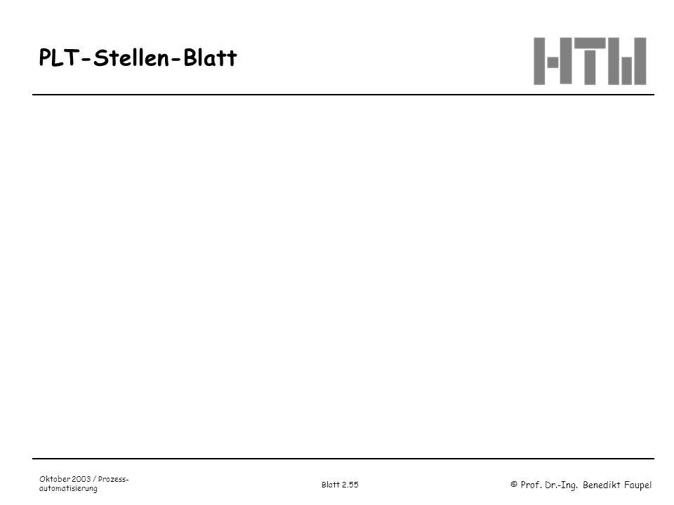 © Prof. Dr.-Ing. Benedikt Faupel Oktober 2003 / Prozess- automatisierung Blatt 2.55 PLT-Stellen-Blatt