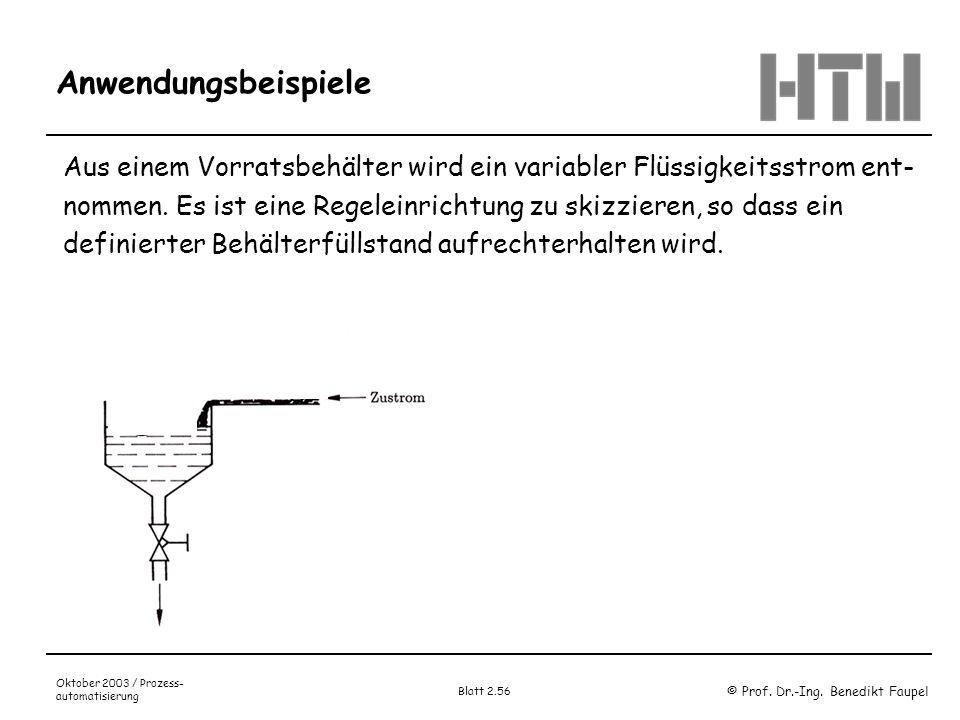 © Prof. Dr.-Ing. Benedikt Faupel Oktober 2003 / Prozess- automatisierung Blatt 2.56 Anwendungsbeispiele Aus einem Vorratsbehälter wird ein variabler F