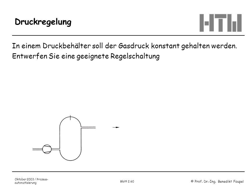 © Prof. Dr.-Ing. Benedikt Faupel Oktober 2003 / Prozess- automatisierung Blatt 2.60 Druckregelung In einem Druckbehälter soll der Gasdruck konstant ge