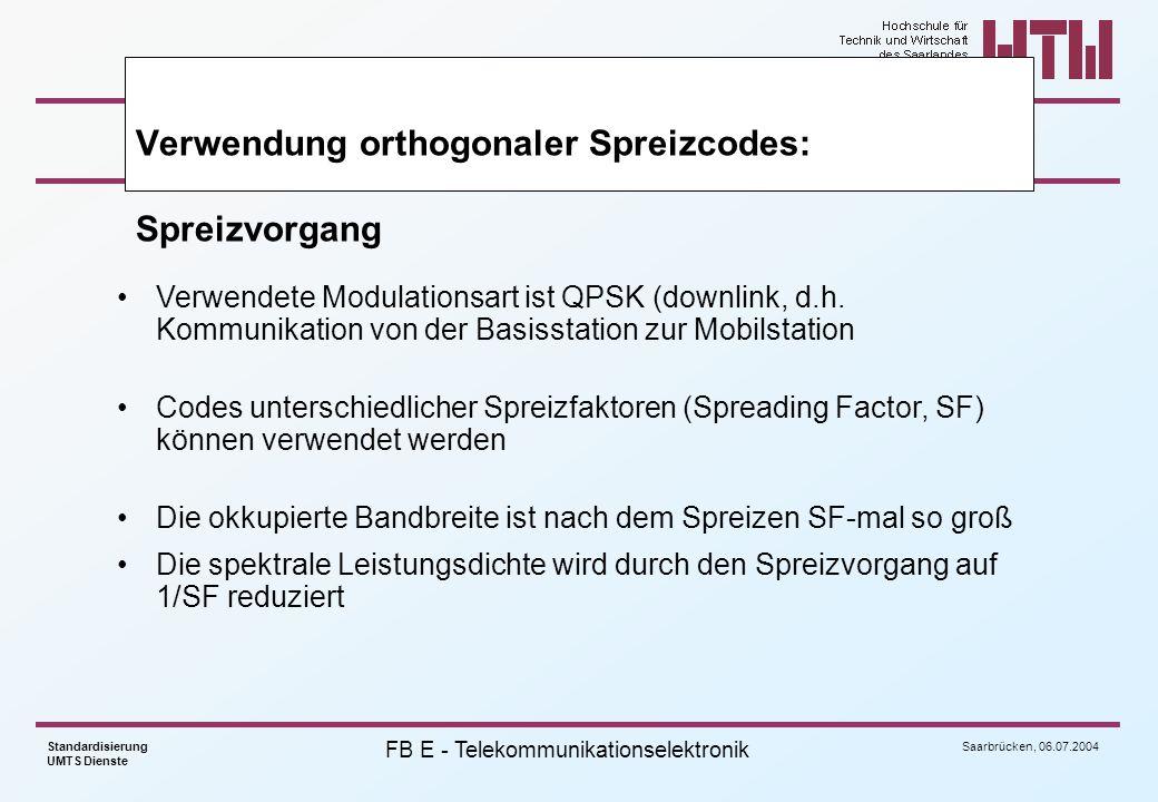 Saarbrücken, 06.07.2004 Standardisierung UMTS Dienste FB E - Telekommunikationselektronik Verwendete Modulationsart ist QPSK (downlink, d.h. Kommunika