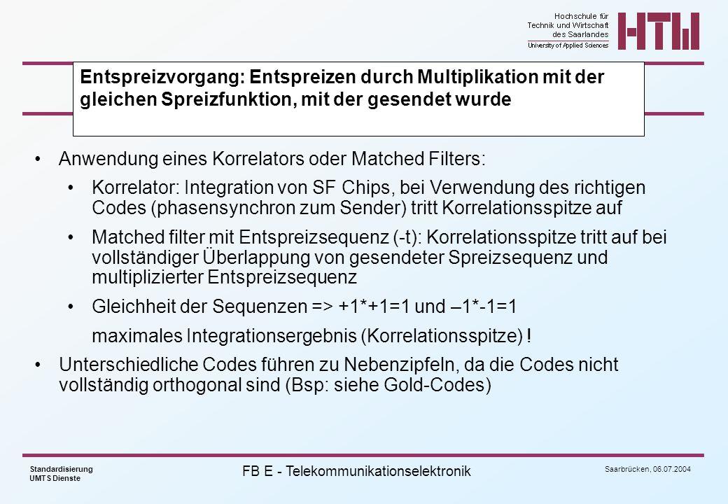Saarbrücken, 06.07.2004 Standardisierung UMTS Dienste FB E - Telekommunikationselektronik Anwendung eines Korrelators oder Matched Filters: Korrelator