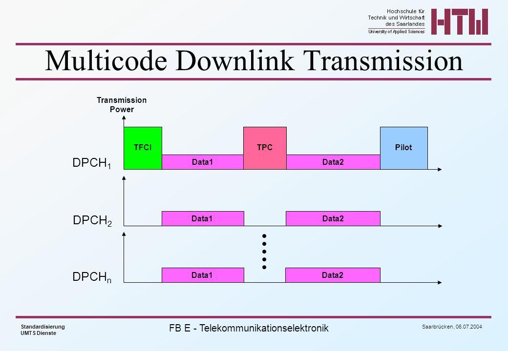 Saarbrücken, 06.07.2004 Standardisierung UMTS Dienste FB E - Telekommunikationselektronik Multicode Downlink Transmission PilotTFCITPC DPCH 1 Data1Dat
