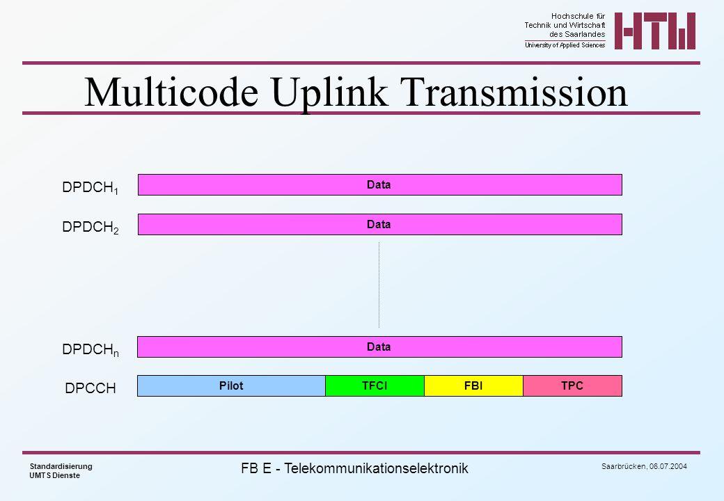 Saarbrücken, 06.07.2004 Standardisierung UMTS Dienste FB E - Telekommunikationselektronik Multicode Uplink Transmission DPCCH PilotTFCIFBITPC DPDCH 1