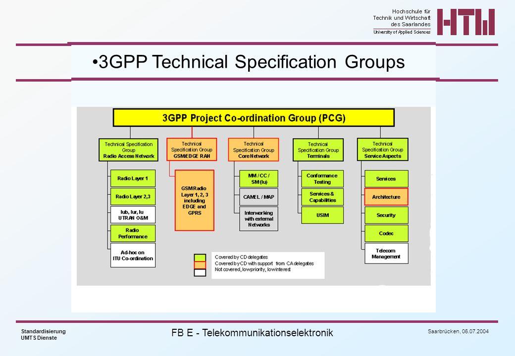 Saarbrücken, 06.07.2004 Standardisierung UMTS Dienste FB E - Telekommunikationselektronik Structure of Uplink Dedicated Channels slot #0slot #1slot #islot #14 frame #0frame #1frame #iframe #71 T f =10 ms T super =720 ms DPDCH Data1 N data bits DPCCH Pilot N TFCI bits TFCI N TFCI bits T s =2560 chips, 10*2 k bits, k=0..7 FBI N FBI bits TPC N TPC bits