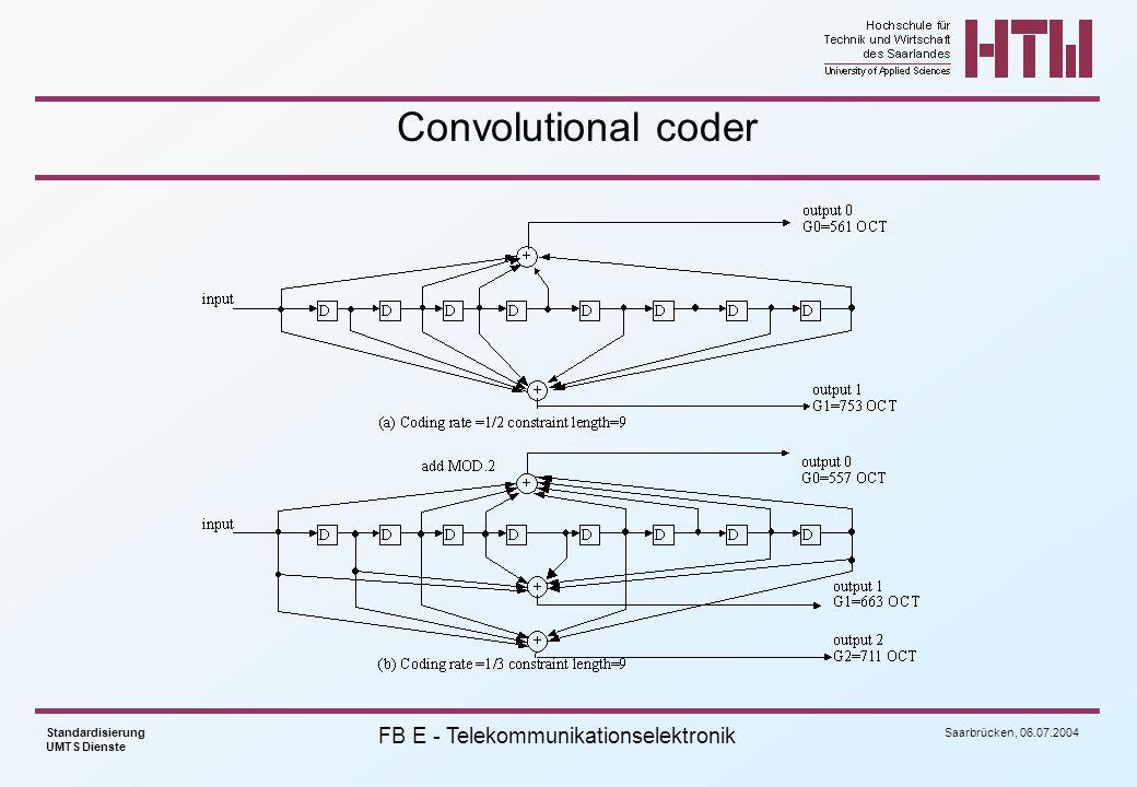 Saarbrücken, 06.07.2004 Standardisierung UMTS Dienste FB E - Telekommunikationselektronik Convolutional coder