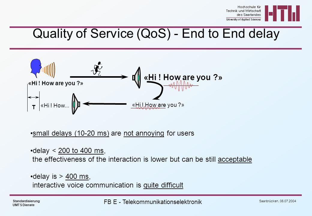 Saarbrücken, 06.07.2004 Standardisierung UMTS Dienste FB E - Telekommunikationselektronik Verwendete Modulationsart ist QPSK (downlink, d.h.