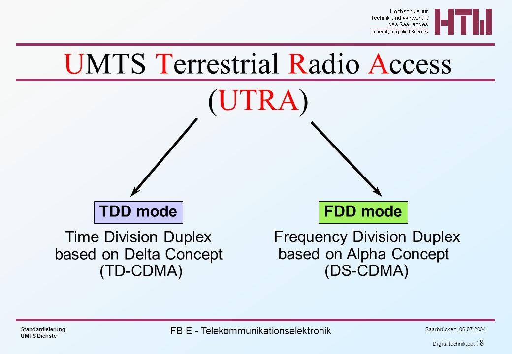 Saarbrücken, 06.07.2004 Standardisierung UMTS Dienste FB E - Telekommunikationselektronik Air Interface Characteristics time Frequency time Frequency TDD mode FDD mode Energy, Code