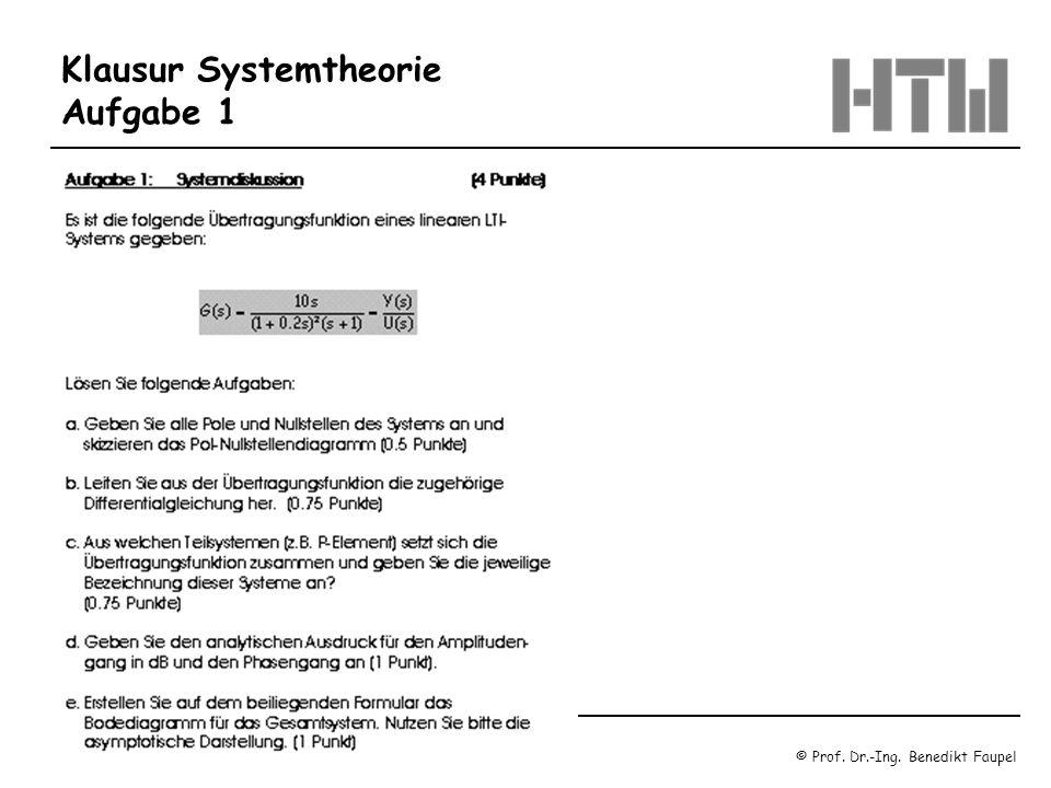 © Prof. Dr.-Ing. Benedikt Faupel Oktober 2003 / Regelungstechnik 1 Blatt 1.18 Klausur Systemtheorie Aufgabe 1