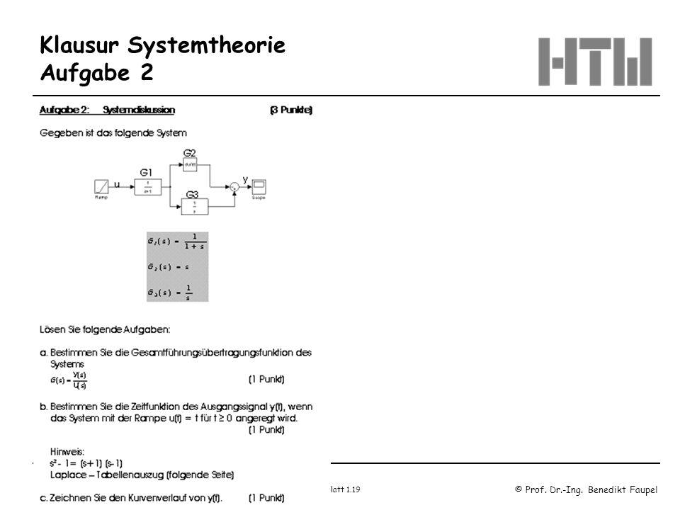 © Prof. Dr.-Ing. Benedikt Faupel Oktober 2003 / Regelungstechnik 1 Blatt 1.19 Klausur Systemtheorie Aufgabe 2