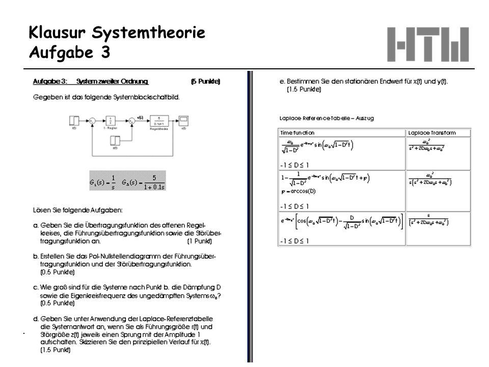 © Prof. Dr.-Ing. Benedikt Faupel Oktober 2003 / Regelungstechnik 1 Blatt 1.20 Klausur Systemtheorie Aufgabe 3