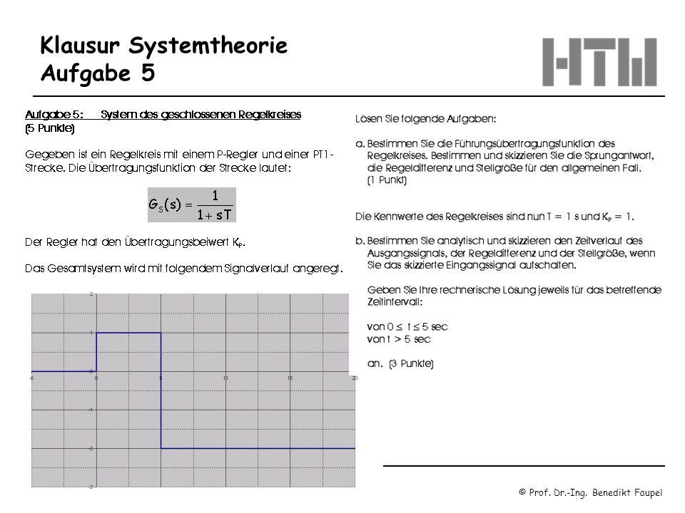 © Prof. Dr.-Ing. Benedikt Faupel Oktober 2003 / Regelungstechnik 1 Blatt 1.22 Klausur Systemtheorie Aufgabe 5