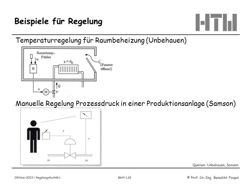 © Prof. Dr.-Ing. Benedikt Faupel Oktober 2003 / Regelungstechnik 1 Blatt 1.28 Beispiele für Regelung Temperaturregelung für Raumbeheizung (Unbehauen)