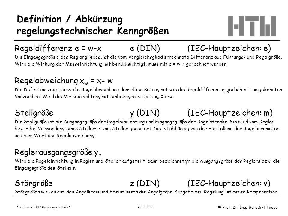 © Prof. Dr.-Ing. Benedikt Faupel Oktober 2003 / Regelungstechnik 1 Blatt 1.44 Definition / Abkürzung regelungstechnischer Kenngrößen Regeldifferenz e