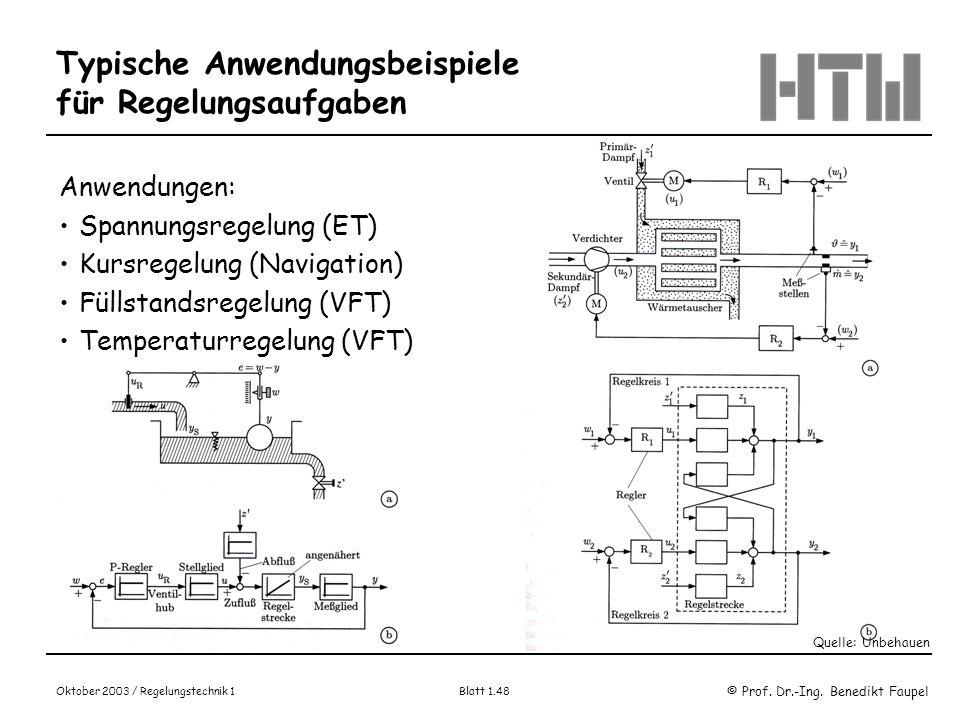 © Prof. Dr.-Ing. Benedikt Faupel Oktober 2003 / Regelungstechnik 1 Blatt 1.48 Typische Anwendungsbeispiele für Regelungsaufgaben Anwendungen: Spannung