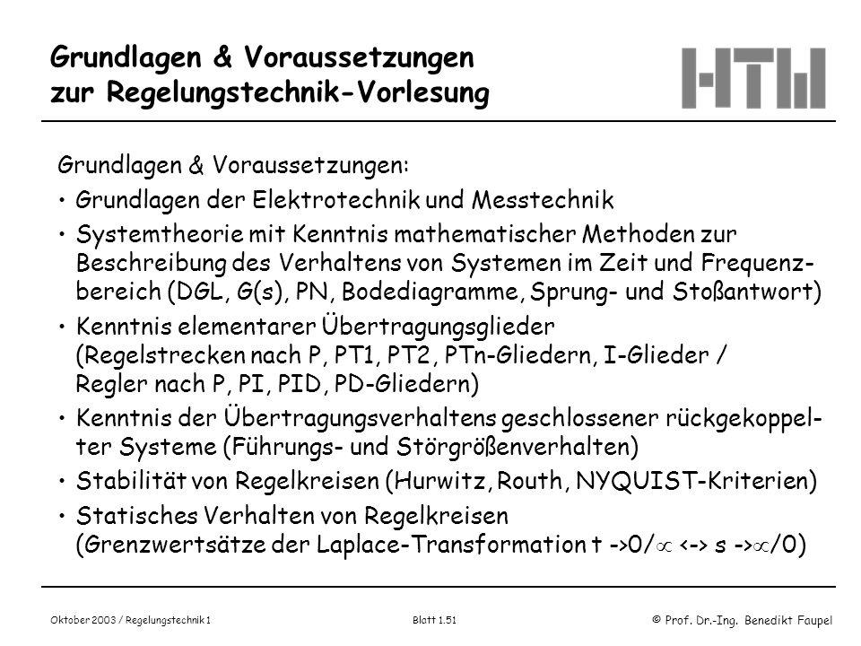 © Prof. Dr.-Ing. Benedikt Faupel Oktober 2003 / Regelungstechnik 1 Blatt 1.51 Grundlagen & Voraussetzungen zur Regelungstechnik-Vorlesung Grundlagen &