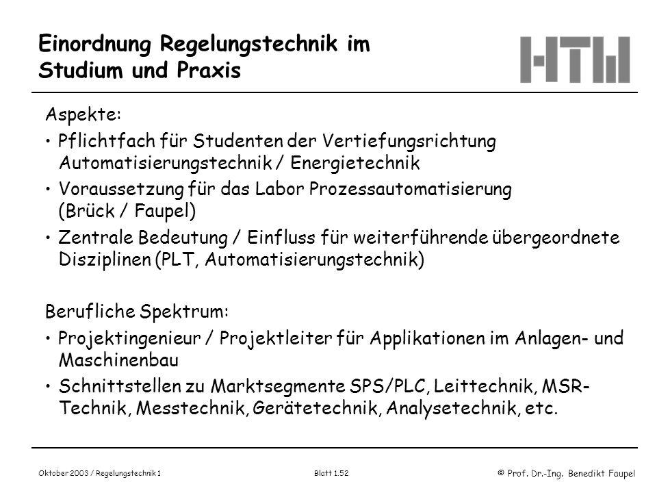 © Prof. Dr.-Ing. Benedikt Faupel Oktober 2003 / Regelungstechnik 1 Blatt 1.52 Einordnung Regelungstechnik im Studium und Praxis Aspekte: Pflichtfach f