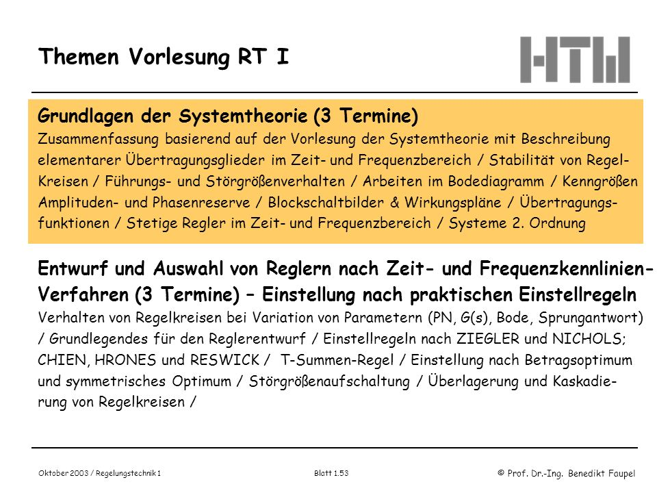 © Prof. Dr.-Ing. Benedikt Faupel Oktober 2003 / Regelungstechnik 1 Blatt 1.53 Themen Vorlesung RT I Grundlagen der Systemtheorie (3 Termine) Zusammenf