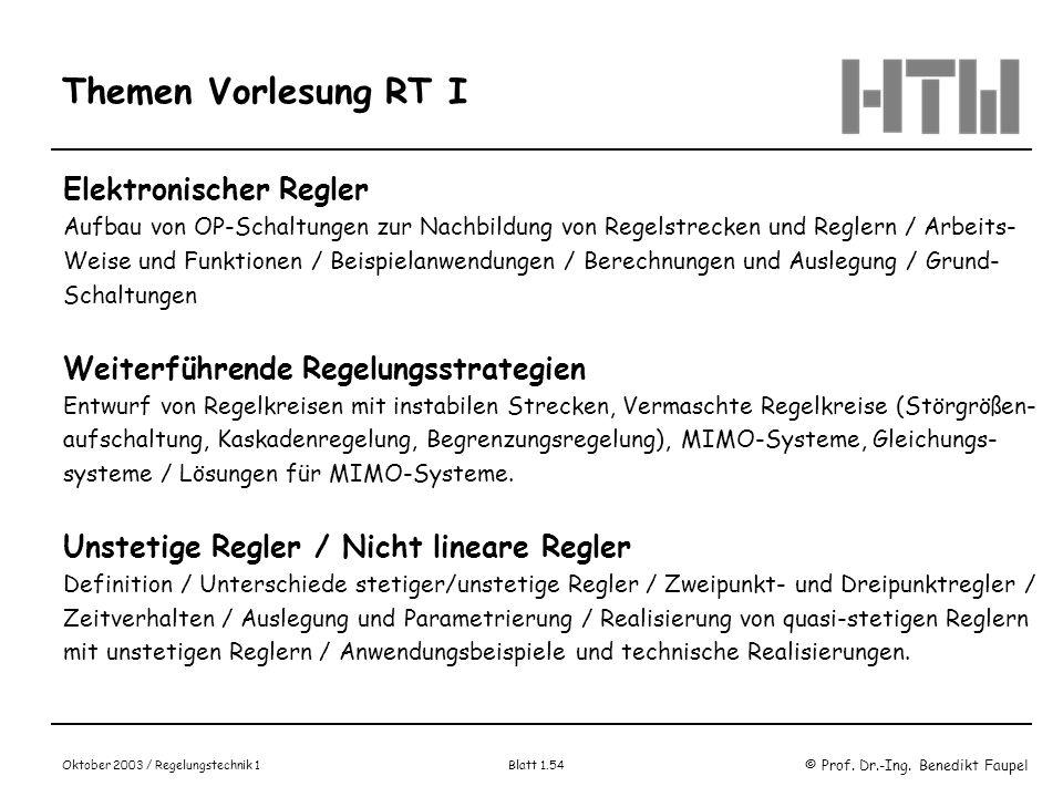 © Prof. Dr.-Ing. Benedikt Faupel Oktober 2003 / Regelungstechnik 1 Blatt 1.54 Themen Vorlesung RT I Elektronischer Regler Aufbau von OP-Schaltungen zu