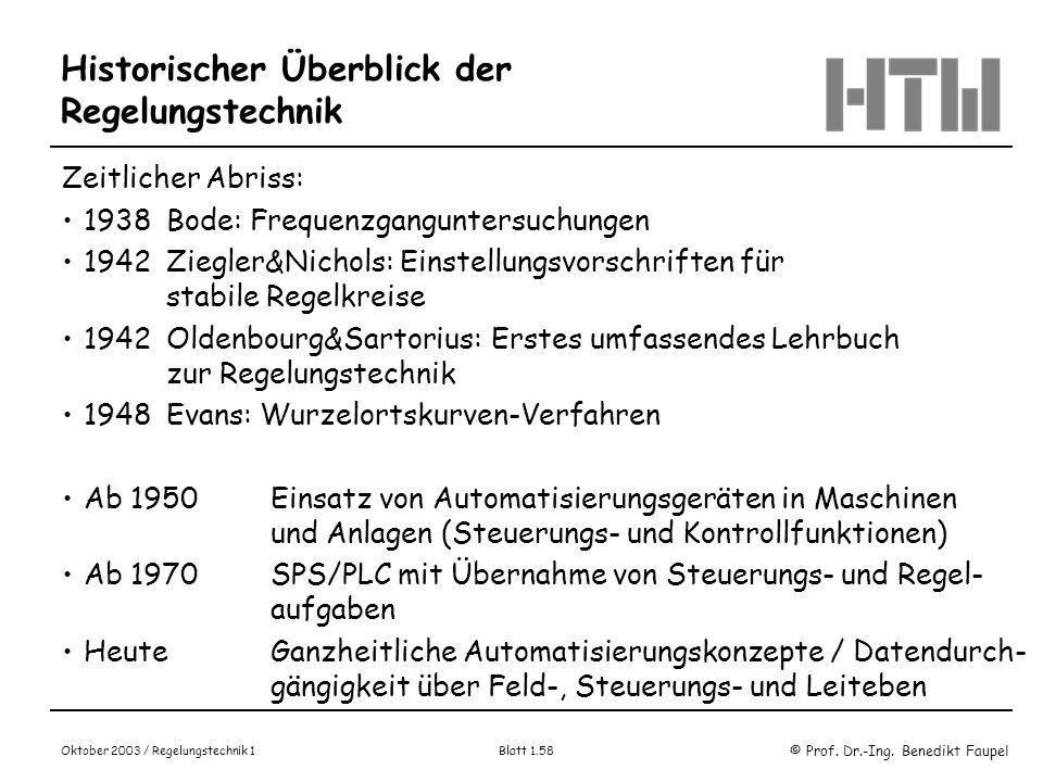 © Prof. Dr.-Ing. Benedikt Faupel Oktober 2003 / Regelungstechnik 1 Blatt 1.58 Historischer Überblick der Regelungstechnik Zeitlicher Abriss: 1938Bode: