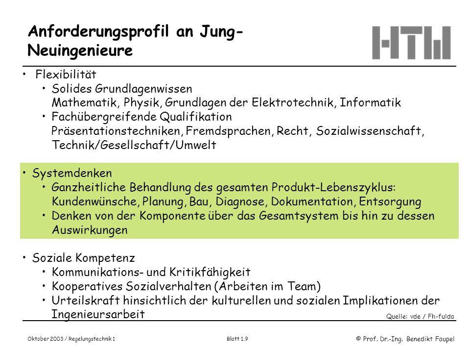 © Prof. Dr.-Ing. Benedikt Faupel Oktober 2003 / Regelungstechnik 1 Blatt 1.9 Flexibilität Solides Grundlagenwissen Mathematik, Physik, Grundlagen der