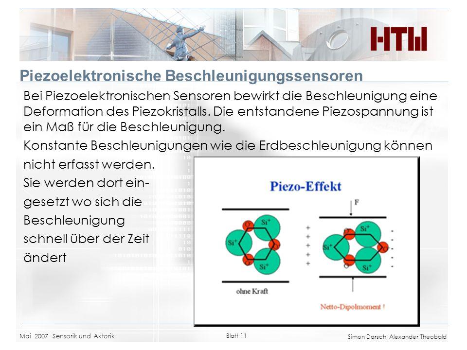 Mai 2007 Sensorik und Aktorik Blatt 11 Simon Darsch, Alexander Theobald Piezoelektronische Beschleunigungssensoren Bei Piezoelektronischen Sensoren be