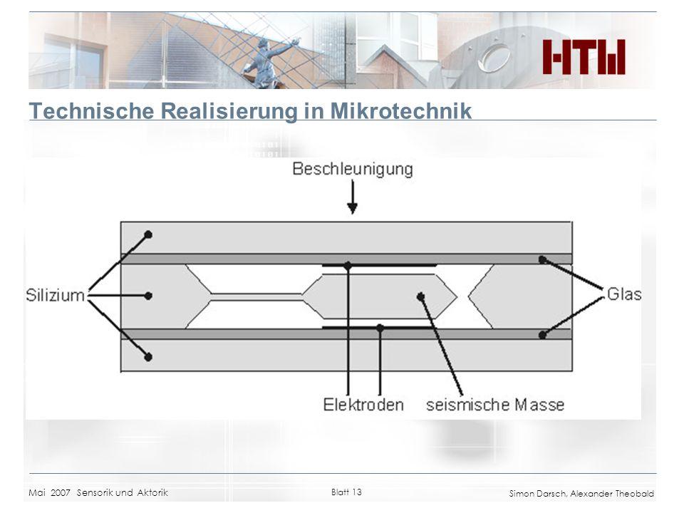 Mai 2007 Sensorik und Aktorik Blatt 13 Simon Darsch, Alexander Theobald Technische Realisierung in Mikrotechnik