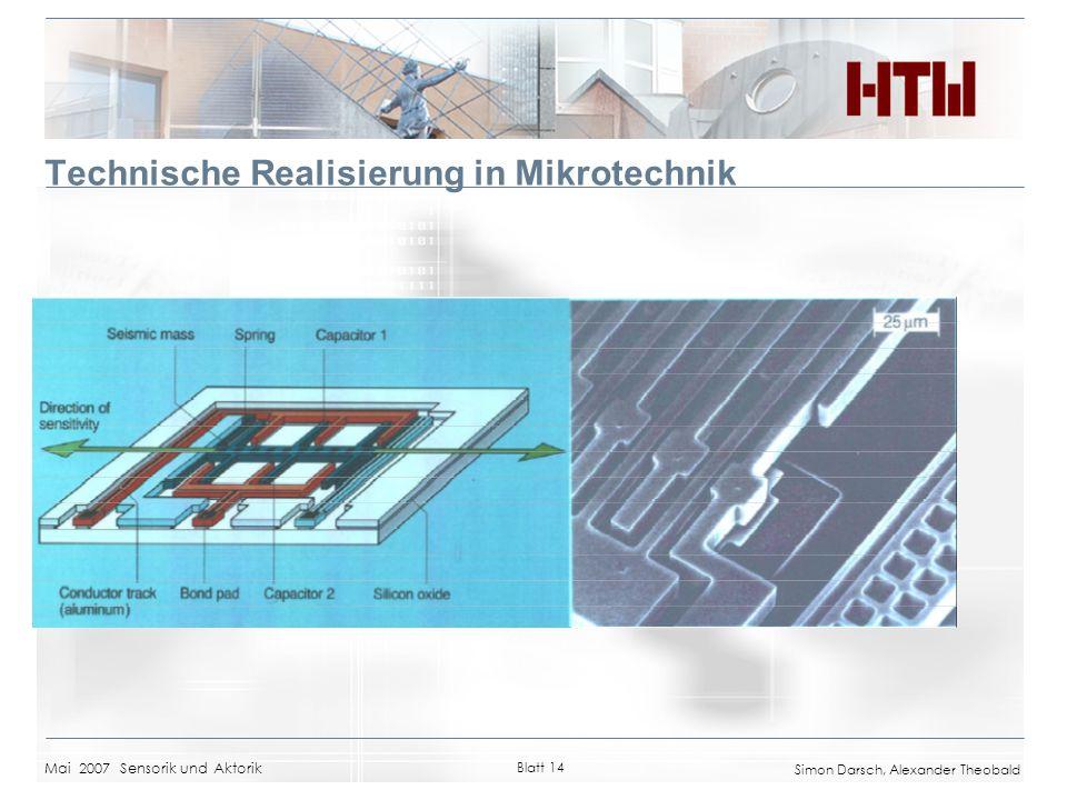 Mai 2007 Sensorik und Aktorik Blatt 14 Simon Darsch, Alexander Theobald Technische Realisierung in Mikrotechnik